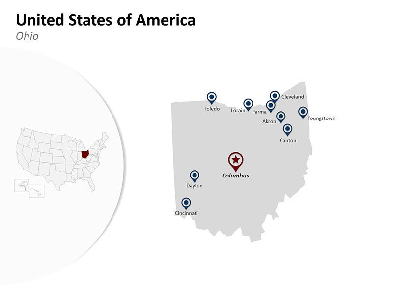 USA with Ohio State Map of Editable PowerPoint Slide