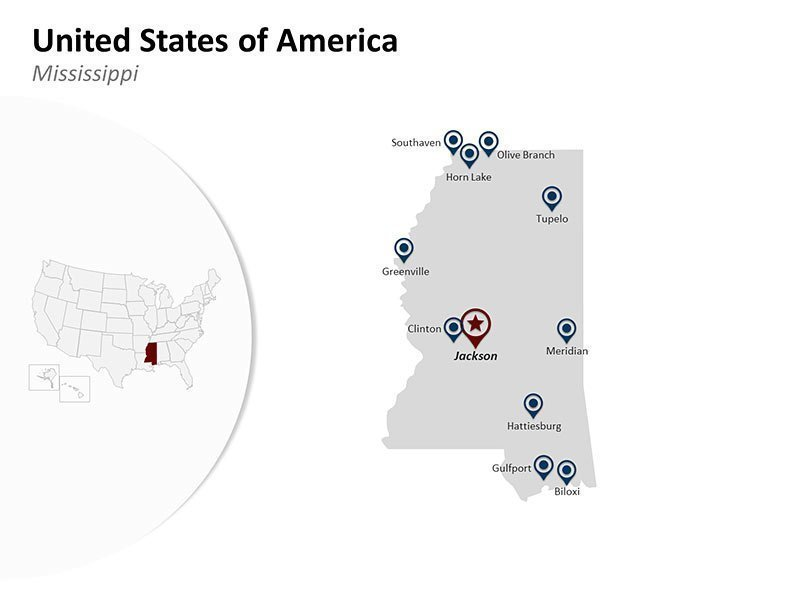 USA with Mississippi State Map of PowerPoint Slide