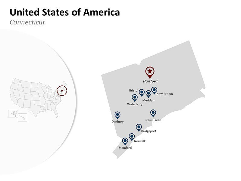 USA with Connecticut State Map of Customizable PowerPoint Slides