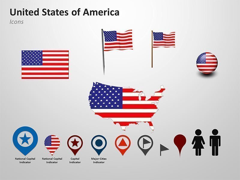 PowerPoint Cliparts of United State of America (USA) Map