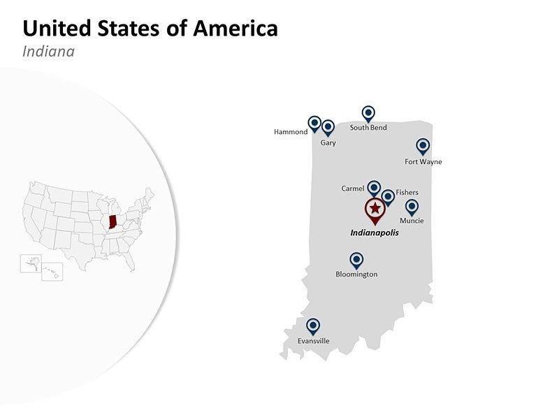 PowerPoint Map of United States of America - Indiana