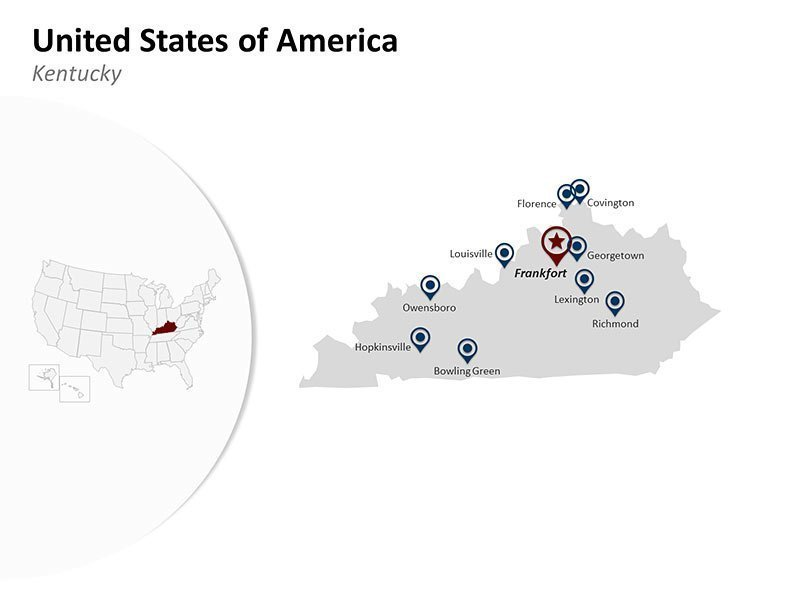 PPT Map of United States of America - Kentucky