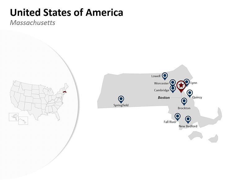 USA with Massachusetts State Map of Editable PowerPoint Presentation