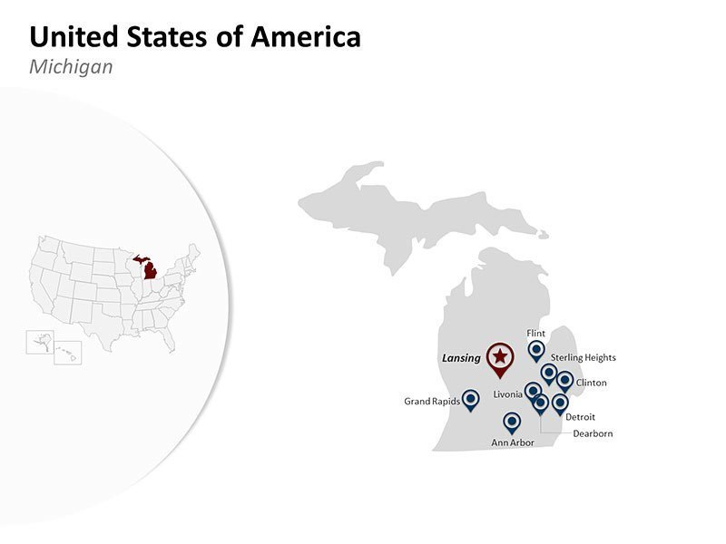 USA with Michigan State Map of PPT Slides