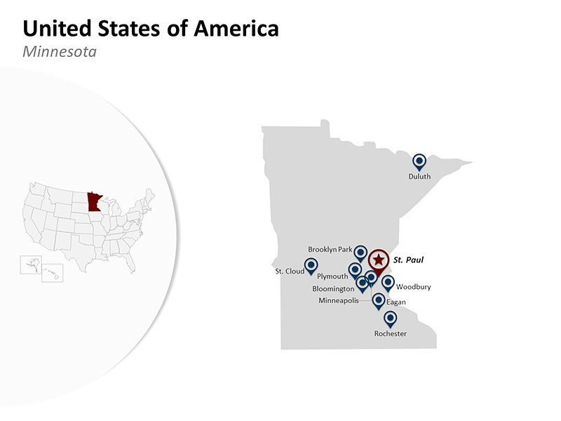 PPT Map of USA - Minnesota