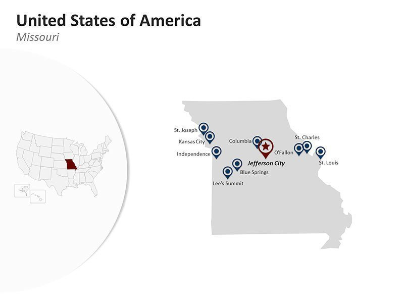 USA with Missouri State Map of Editable PPT Slide