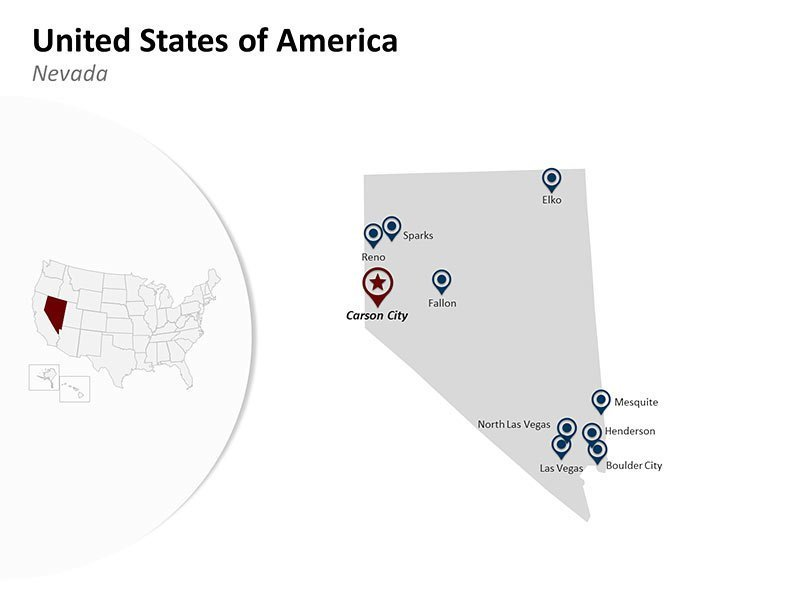 USA with Nevada State Map of Editable PPT Presentation