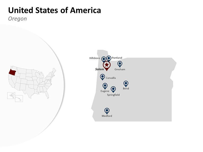 USA with Oregon State Map of Fully Editable PPT Slide