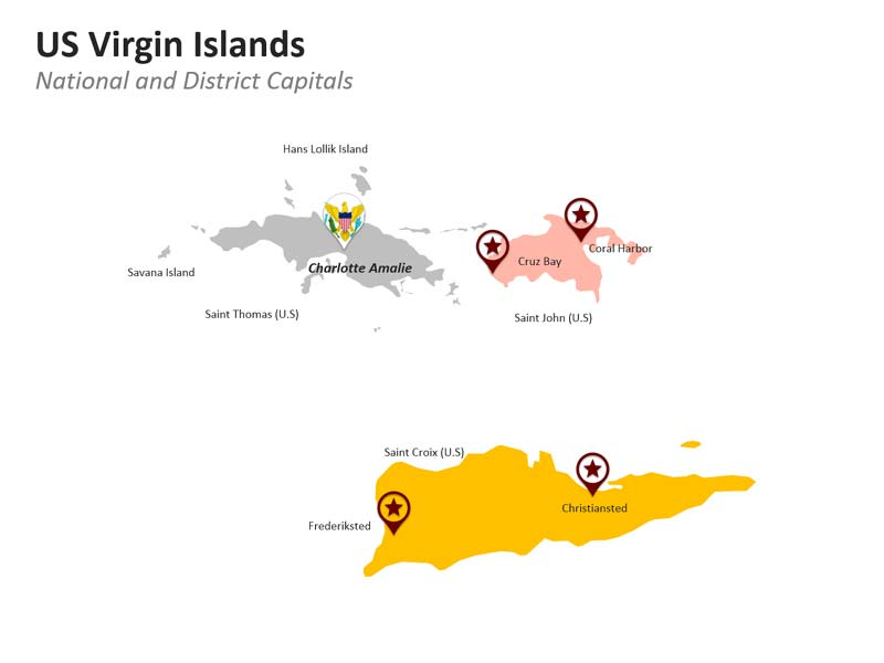 PPT Slides United States Virgin Islands with District Capitals Map