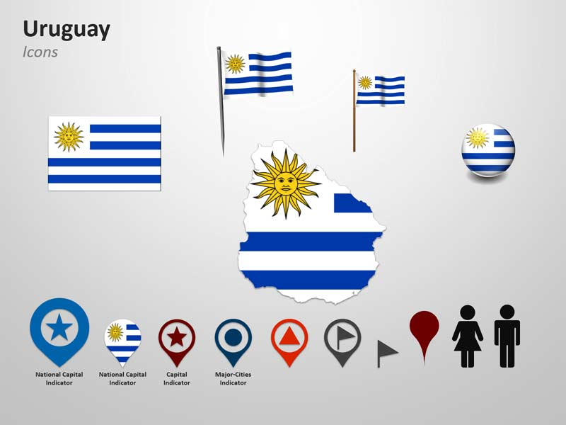 Uruguay Flag Icons - PPT Cliparts Slide