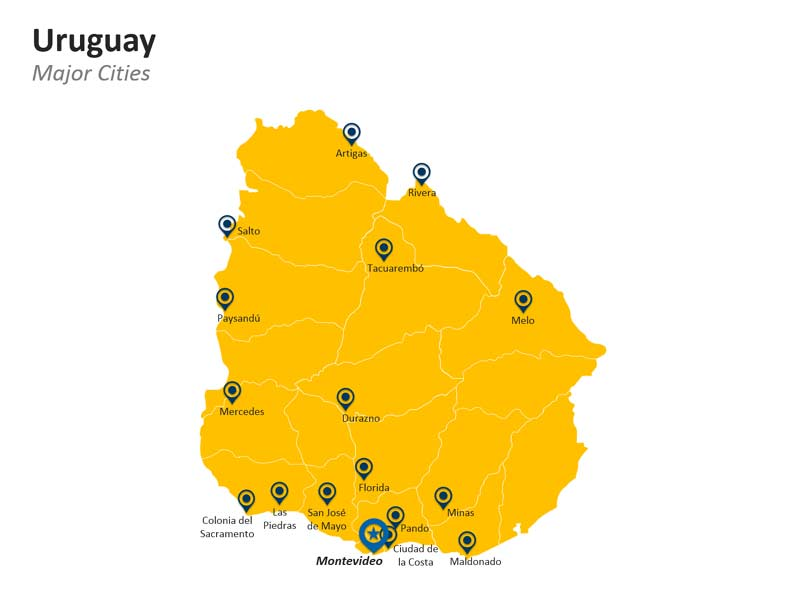 PowerPoint Major Cities of Uruguay Map