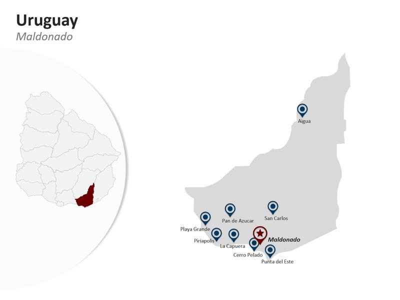 Maldonado Department on Uruguay PPT Map Slides