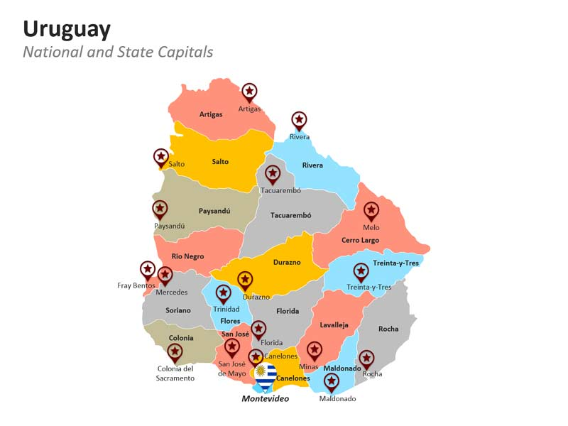 Capital Cities and Departments of Uruguay Map