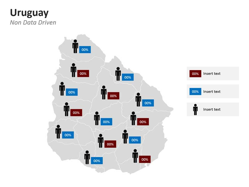 Population Data Graph on Uruguay Map PPT Slide