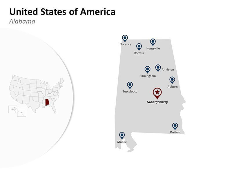 USA with Alabama State Map of PowerPoint Slide