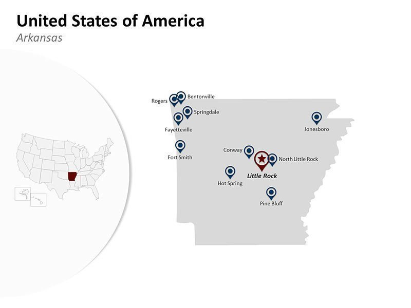 USA with Arkansas State Map of Editable PowerPoint Presentation