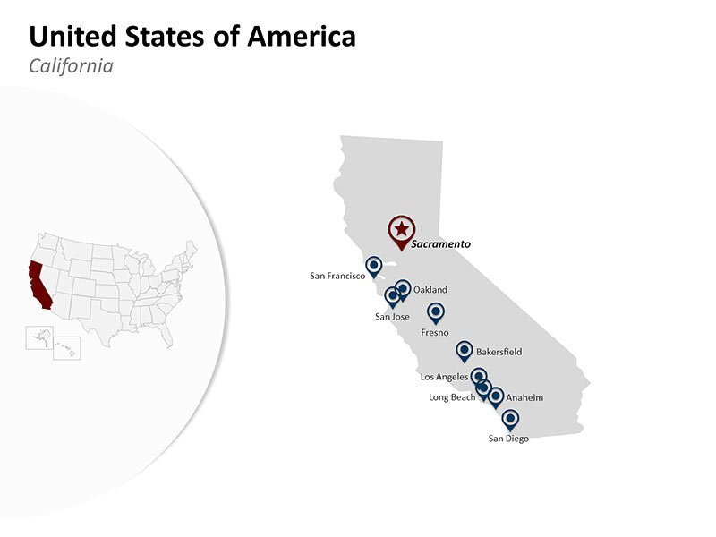 Editable PPT Map California - United States of America