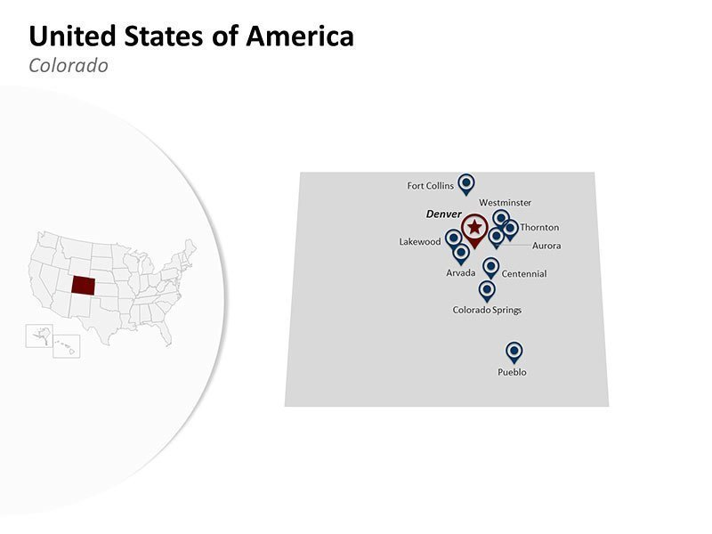 USA with Colorado State Map of PowerPoint Presentations