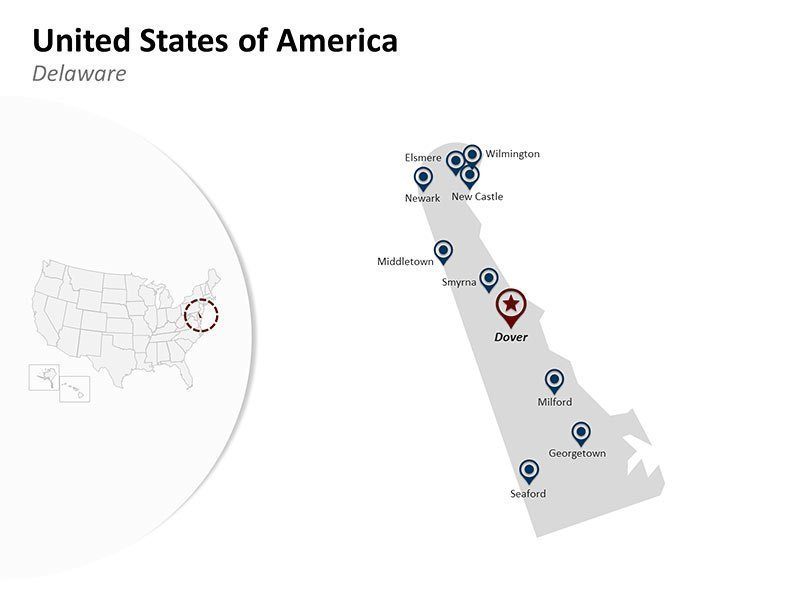 USA with Delaware State Map of Fully Editable PPT Slides