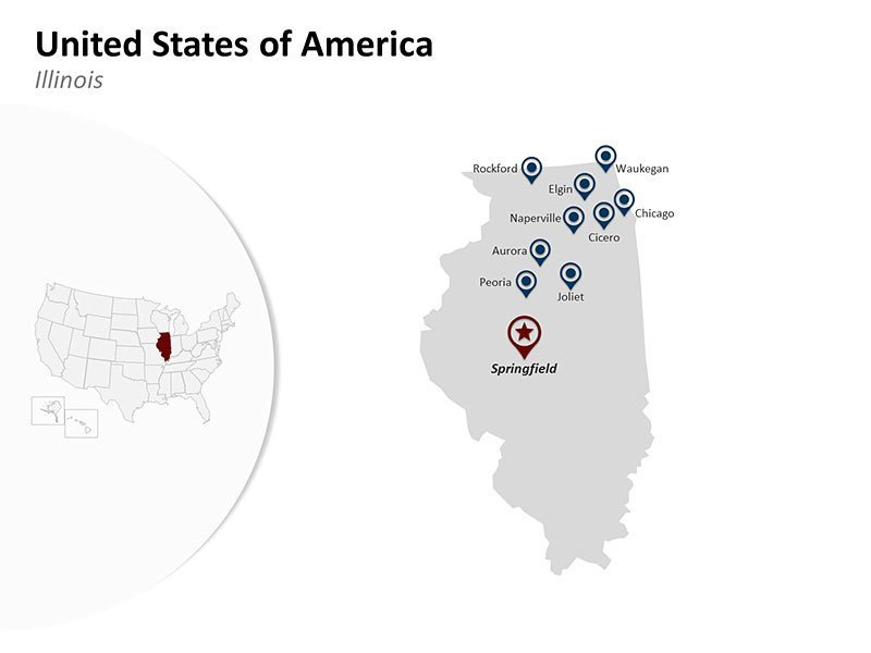 USA with Illinois State Map of Customizable PPT Slides