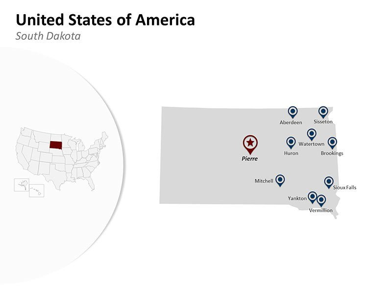 USA South Dakota States - PowerPoint Map