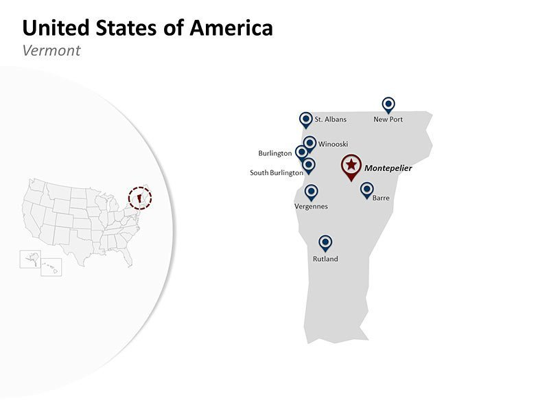 USA with Vermont State Map of Editable PPT Slides