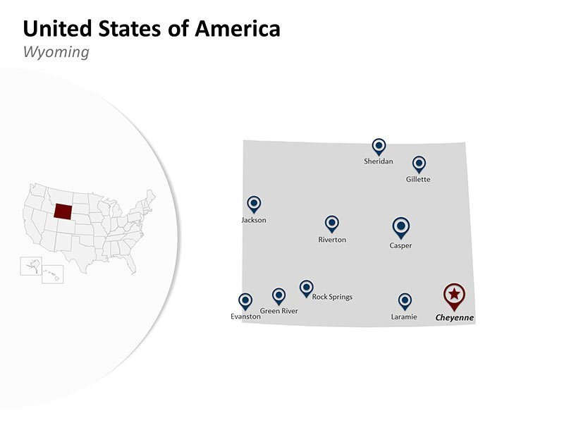 PowerPoint Map of United States of America - Wyoming