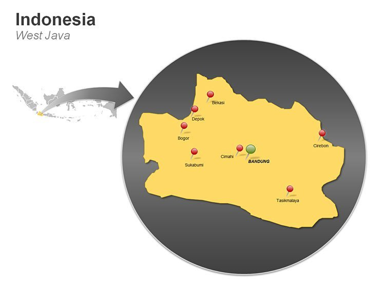 Editable Map of Indonesia - West Java