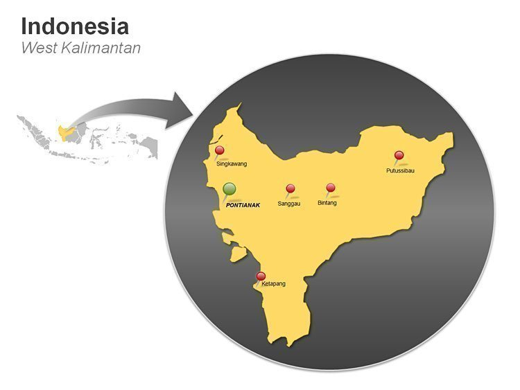 West Kalimantan Indonesia PPT Map