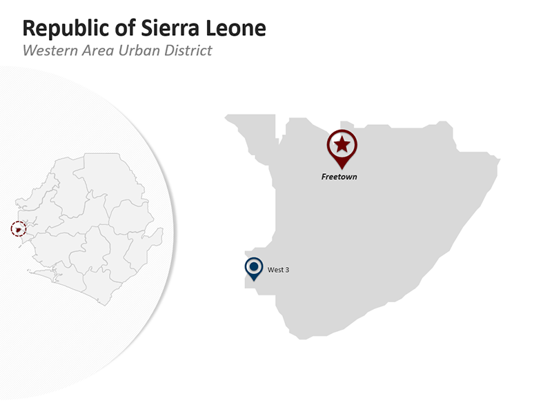 Editable PPT Map - Republic of Sierra Leone - Western area Urban District