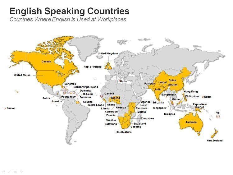 Editable PPT Map - English Speaking Countries