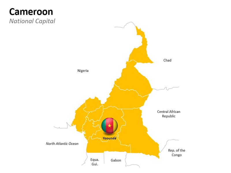 Cameroon Map with National Capital - Editable PowerPoint Slide