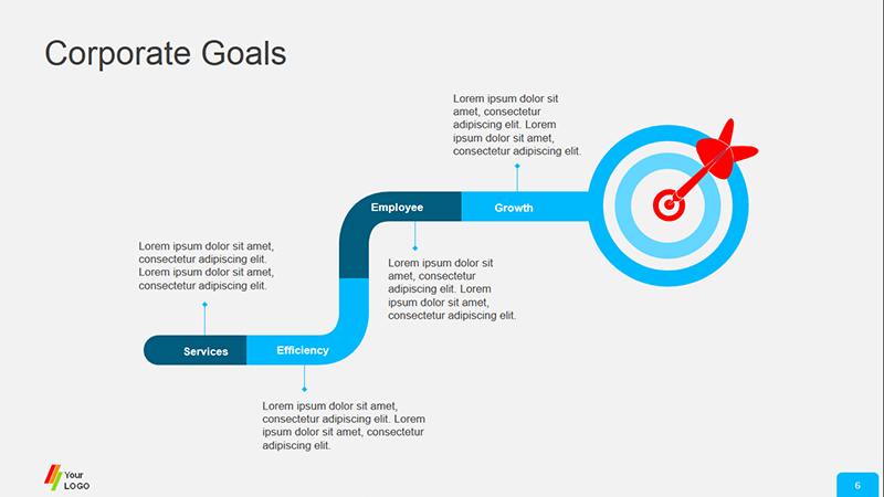 Company Profile Example Corporate Goals Target - Editable PPT Slide