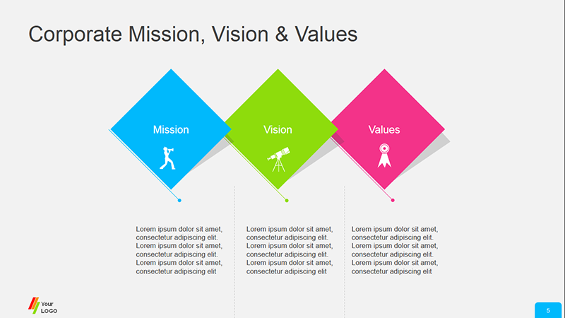 Corporate Mission Vision & Values Diagram - PPT Template Business Presentation