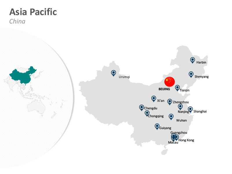 Asia Pacific China Beijing PPT Map