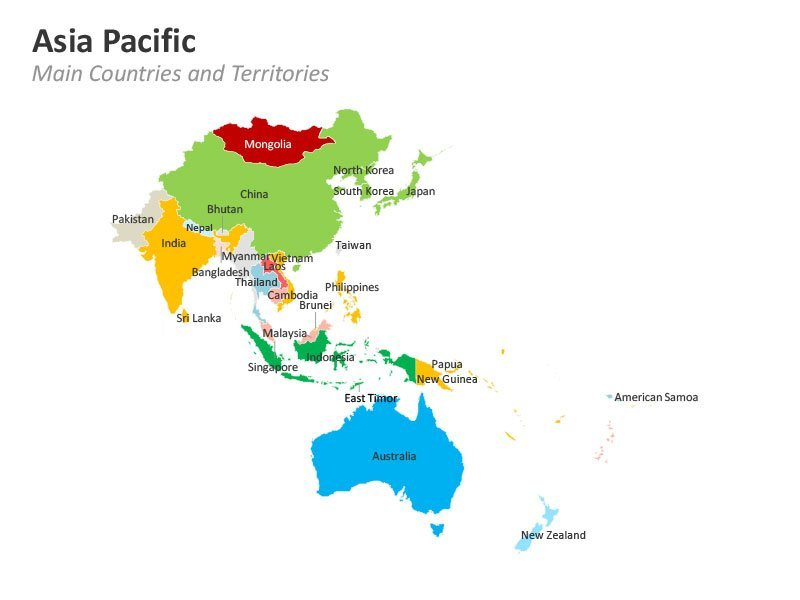 Asia Pacific Main Countries and Territories PPT Map