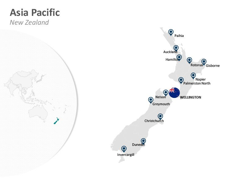 Asia Pacific Wellington New Zealand PowerPoint Map