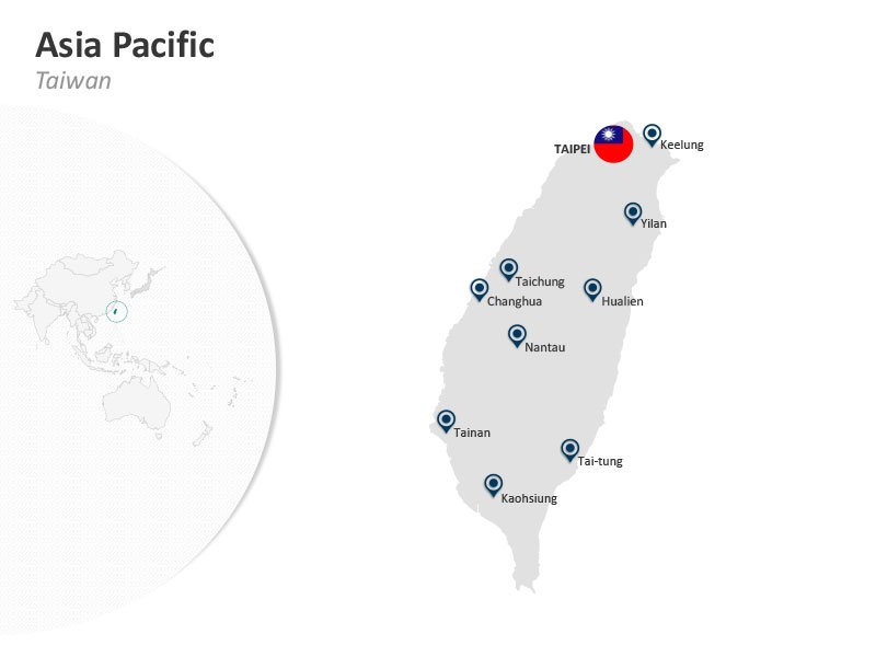 Asia Pacific Taiwan Taipei PPT Map