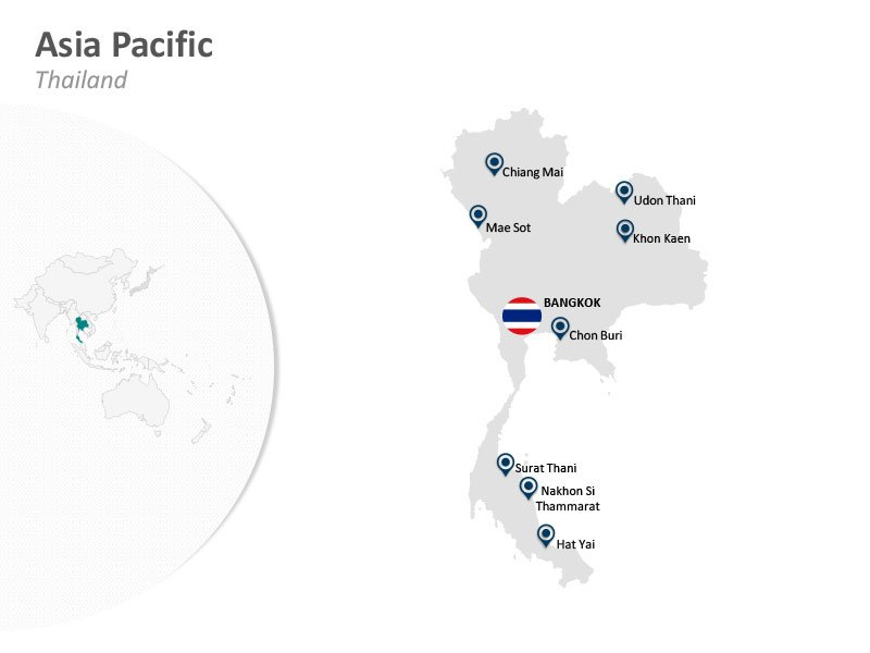 Asia Pacific PowerPoint Map Thailand Bangkok