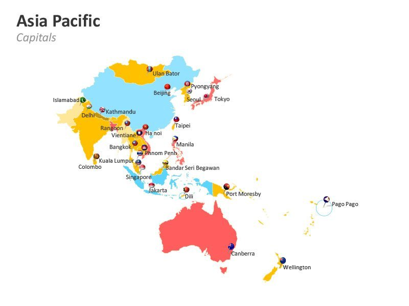 Asia Pacific Countries Capitals PowerPoint Map