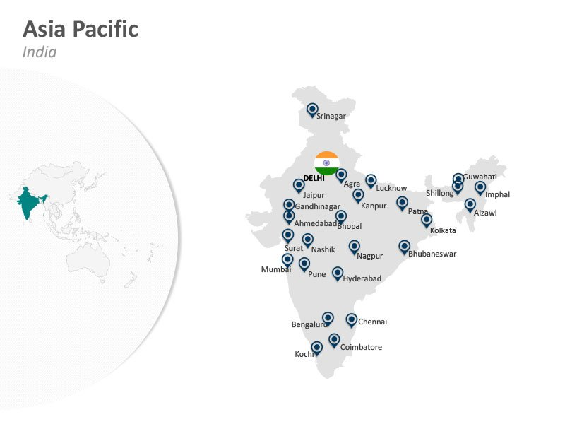 Asia Pacific India Delhi PPT Map