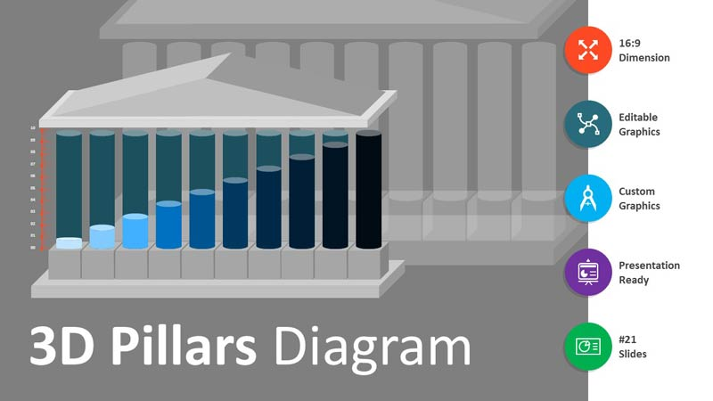 3D Pillars Diagram - Editable PowerPoint Presentation