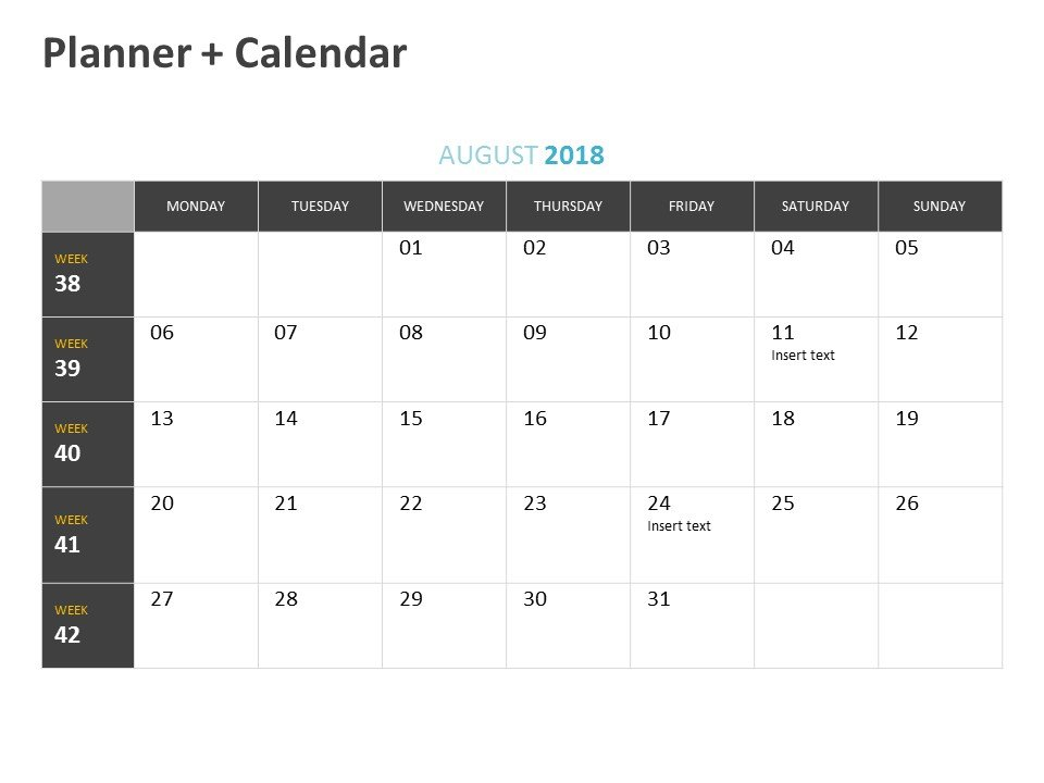 Editable Planner Calendar PowerPoint Template August