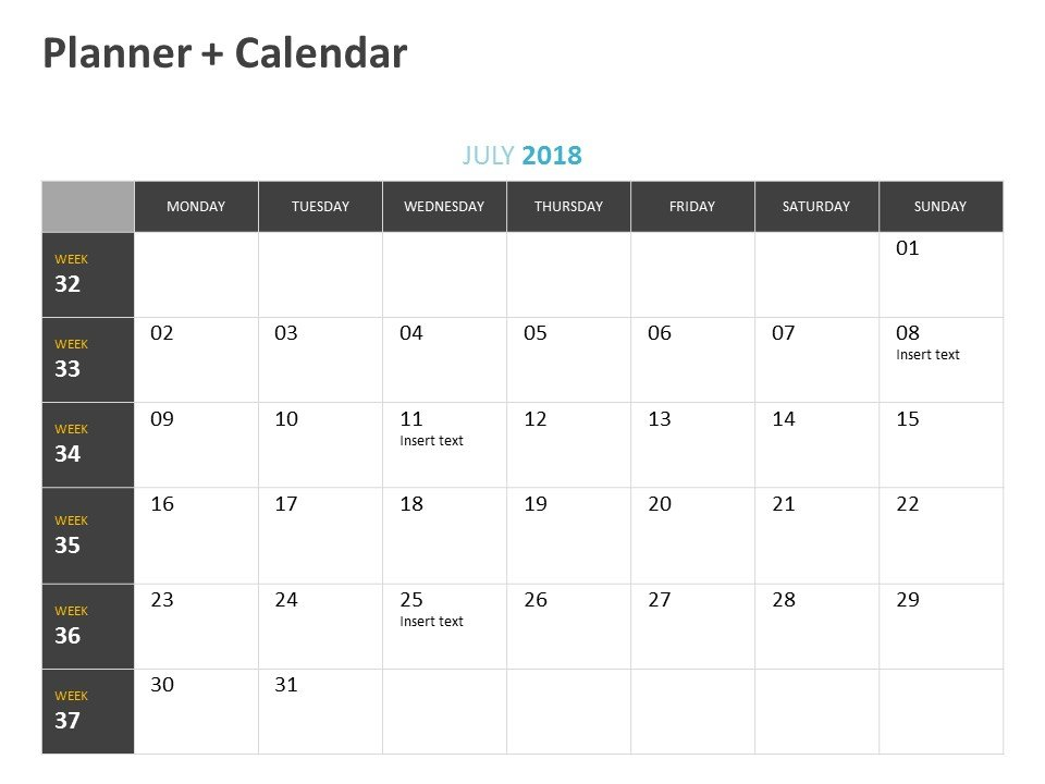 Calendar Planner PowerPoint Slide July