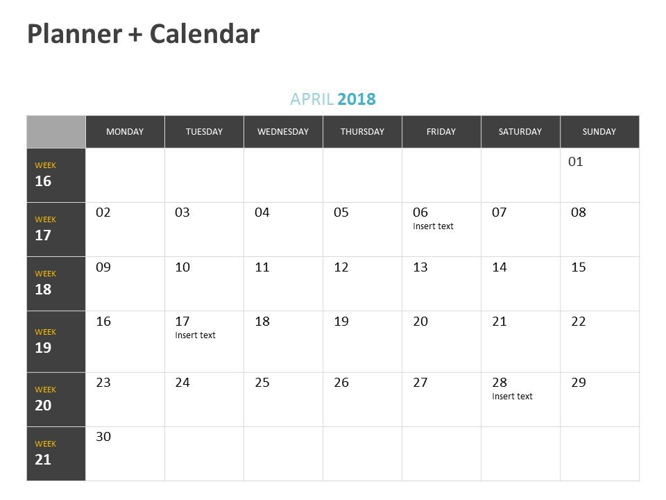Planner Calendar PowerPoint Slide April