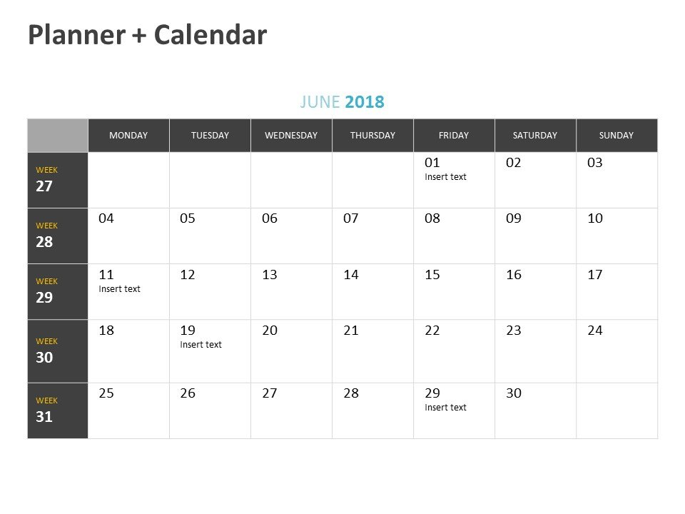 PowerPoint Planner Calendar Template June