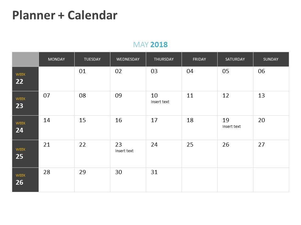 Editable PowerPoint Calendar Planner May