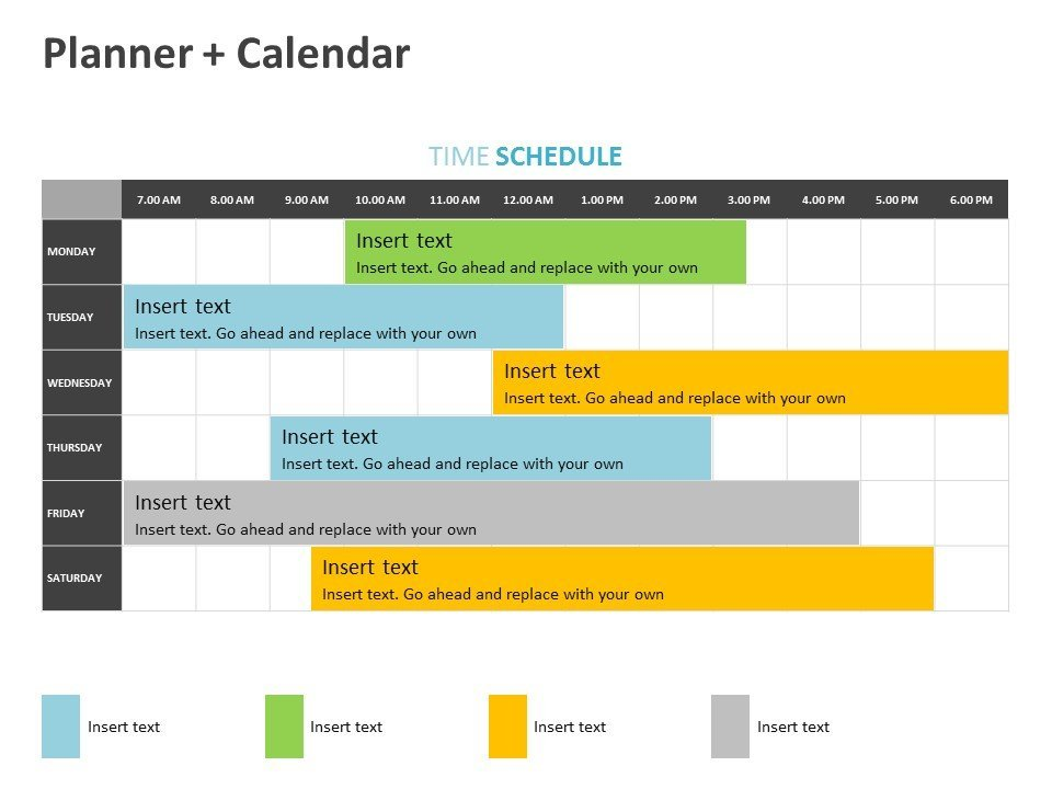 Time Schedule Planner Calendar PowerPoint Template Editable
