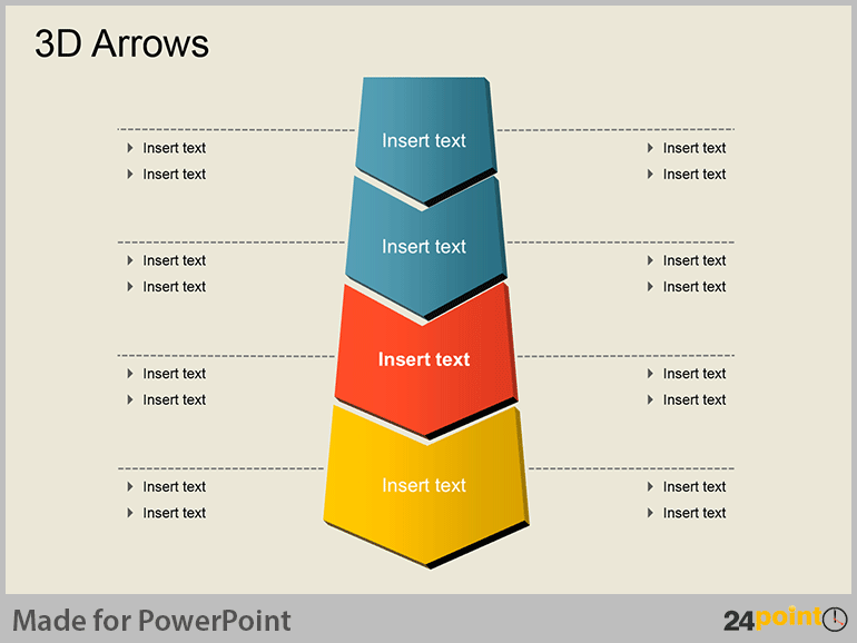 Editable Process Diagrams for PPT Presentations : 3D Arrows to Illustrate Processes Step by Step
