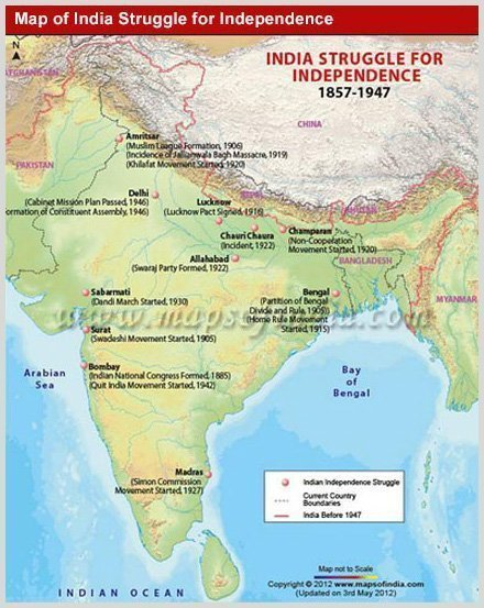 Map of independence movement of India